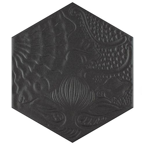 Gaudi Hex Black 8 5/8-inch x 9 7/8-inch Porcelain Floor and Wall Tile (11.56 sq. ft. / case)