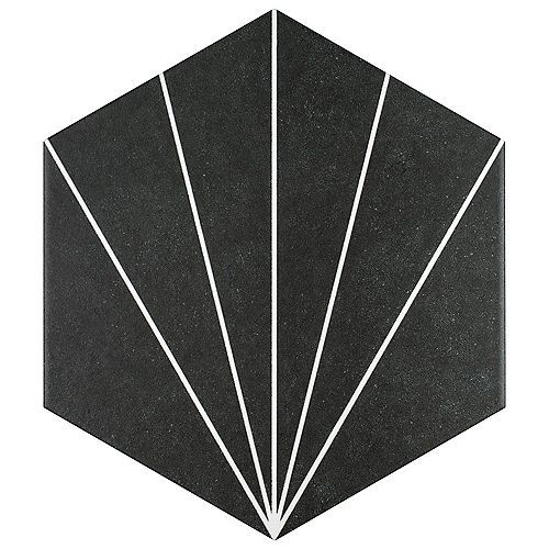 Merola Tile Aster Hex Nero 8 5/8-inch x 9 7/8-inch Porcelain Floor and Wall Tile (11.56 sq. ft. / case)