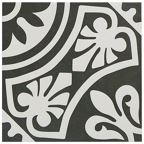 Carreau mur et sol en porcelaine 9 3/4 po x 9 3/4 po Majestic Tiena, noir (11,11 pi2/bte)