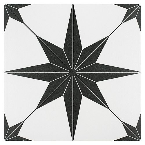 Merola Tile Stella Nero 9-3/4-inch x 9-3/4-inch Porcelain Floor and Wall Tile (10.76 sq. ft. / case)