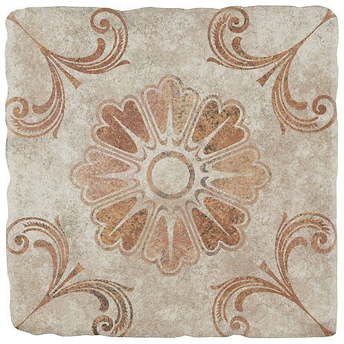 Merola Tile Costa Arena Decor Fleur 7-3/4-inch x 7-3/4-inch Ceramic Floor and Wall Tile (11.11 sq. ft. / case)