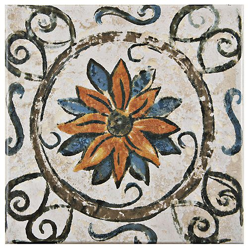 Provence Tradition Cornflower 7-3/4-inch x 7-3/4-inch Ceramic Floor and Wall Tile (11.11 sqft/case)