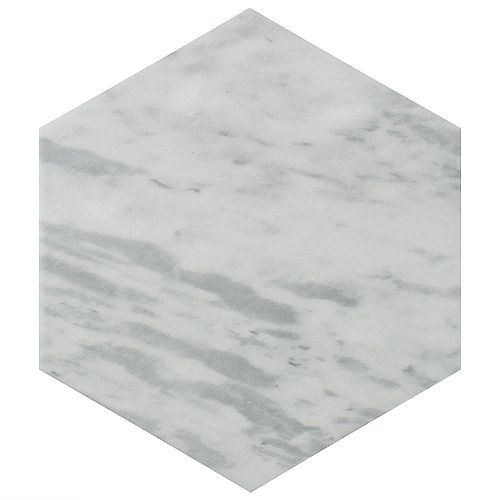 Merola Tile Classico Bardiglio Hexagon Light 7-inch x 8-inch Porcelain Floor and Wall Tile (7.67 sq. ft. / case)
