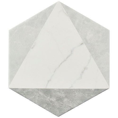 Carreau mur et sol hex en porcelaine 7 po x 8 po Classico Carrara Peak (7,67 pi2/bte)