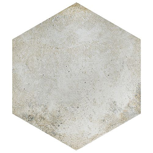 Merola Tile Boston Ferro Hex Bianco 14-1/8-inch x 16-1/4-inch Porcelain Floor and Wall Tile(11.05 sq. ft. /case)