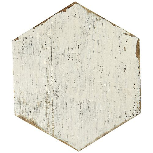 Retro Hex Blanc 14-1/8-inch x 16-1/4-inch Porcelain Floor and Wall Tile (11.05 sq. ft. / case)