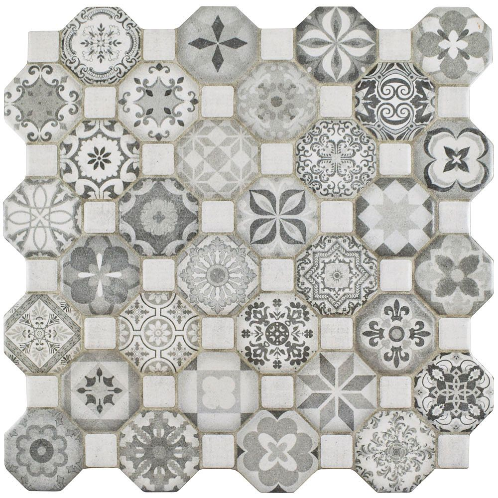 Merola Tile Tessera Grey 12-1/4-inch x 12-1/4-inch Ceramic Floor and Wall Tile (14.11 sq. ft. / case)