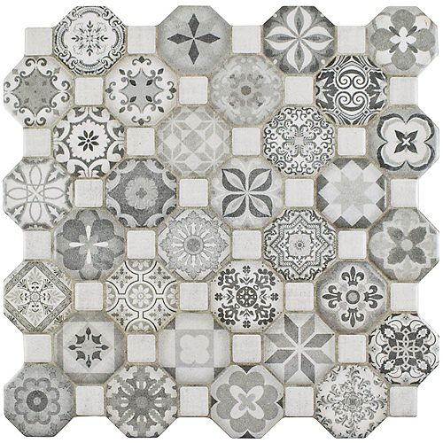 Tessera Grey 12-1/4-inch x 12-1/4-inch Ceramic Floor and Wall Tile (14.11 sq. ft. / case)