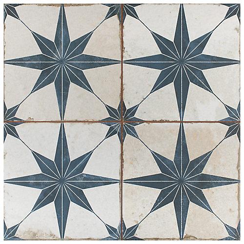 Carreau mur et sol en céramique 17 5/8 po x 17 5/8 po Kings Star, bleu (11,02 pi2/bte)
