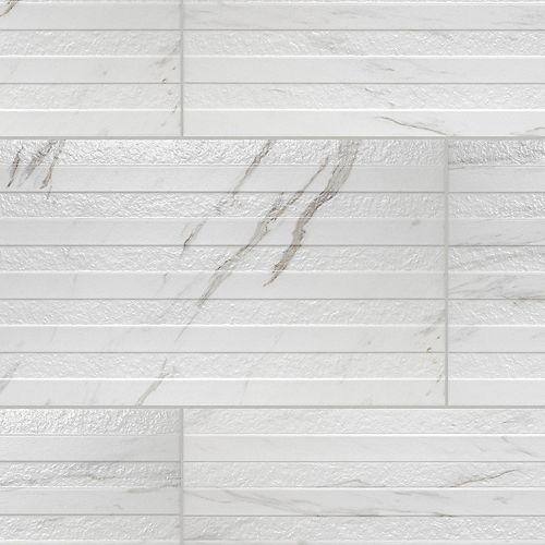 Merola Tile Eterno Carrara Line 12-7/8-inch x 25-5/8-inch Porcelain Wall Tile (11.79 sq. ft. / case)