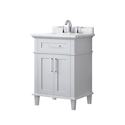Sonoma 24-inch Single Sink Vanity in Dove Grey with Carrara Marble Top