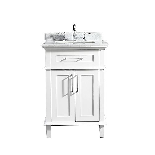Sonoma 24-inch W x 20.25-inch D Vanity in White with Carrara Marble Top with White Sinks
