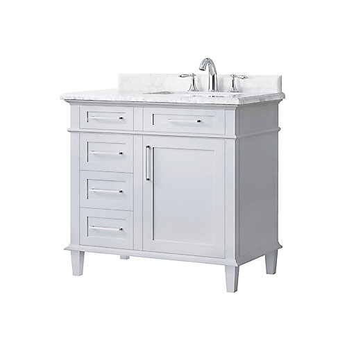 Sonoma 36-inch Single Sink Vanity in Dove Grey with Carrara Marble Top