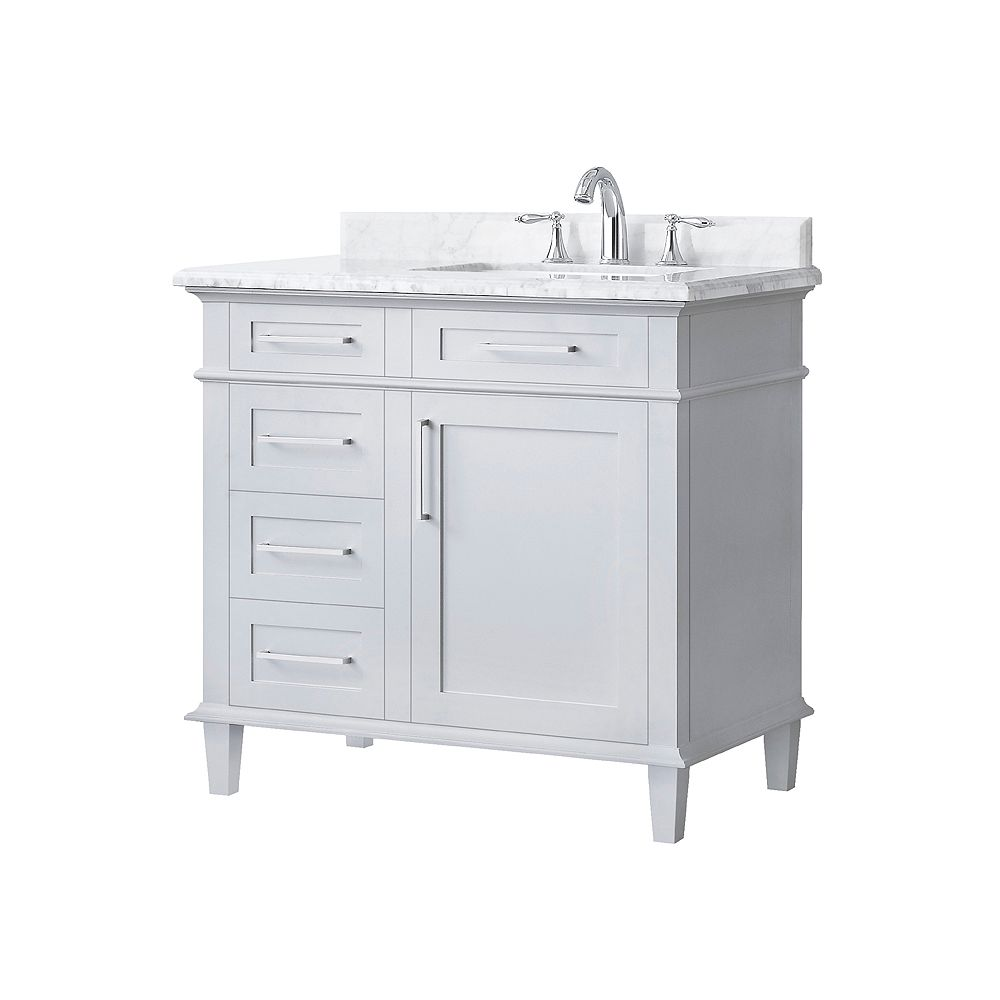 Home Decorators Collection Sonoma 36-inch Single Sink Vanity in Dove Grey with Carrara Marble Top