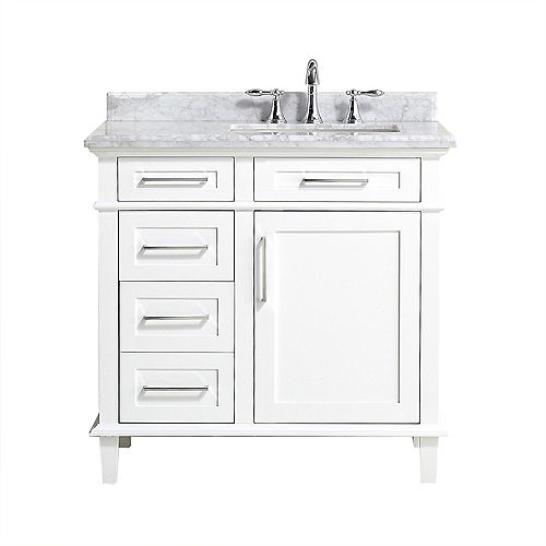Sonoma 36-inch W x 22-inch D Bath Vanity in White with Carrara Marble Top with White Sinks