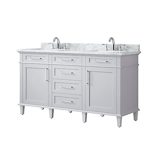 Salle de bain avec le meuble-lavabo Sonoma, Gris, 60 po