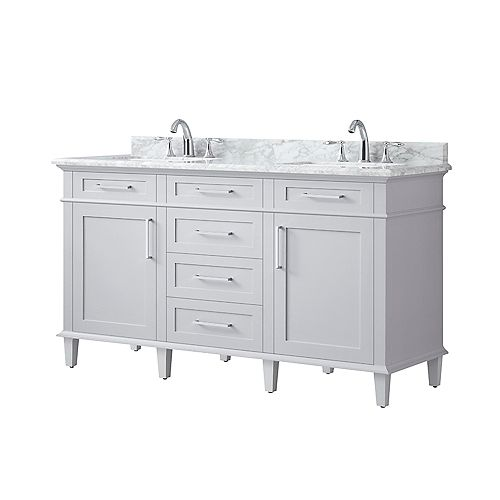 Sonoma 60-inch Double Sink Vanity in Dove Grey with Carrara Marble Top