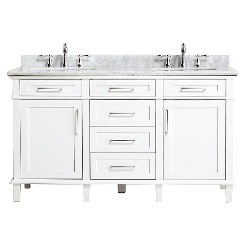 Sonoma 60-inch W x 22-inch D Double Bath Vanity in White with Carrara Marble Top with White Sinks