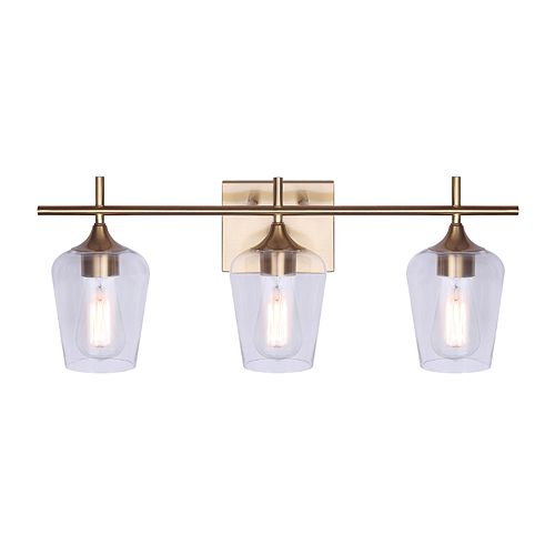 Home Decorators Gabrielle 3-Light 60W Gold Finish Vanity with Glass Shades