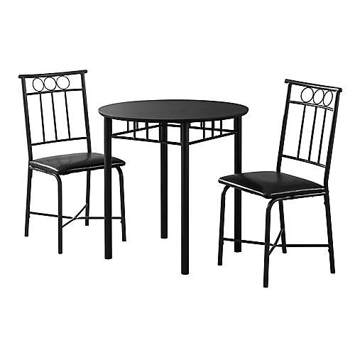 Dining Set - 3-Pieces Set Black Metal And Top