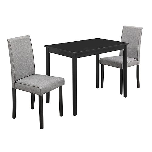 Dining Set - 3-Pieces Set Black Grey Linen Parson Chairs
