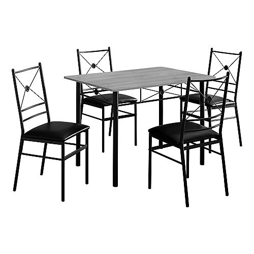 Dining Set - 5-Pieces Set Grey Black Metal