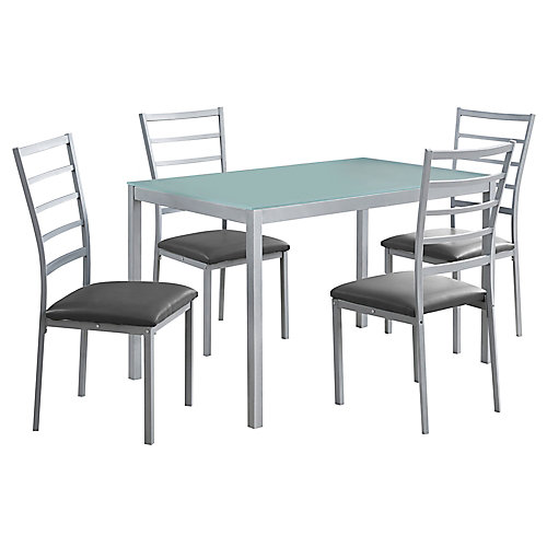Dining Set - 5-Pieces Set Silver Frosted Tempered Glass