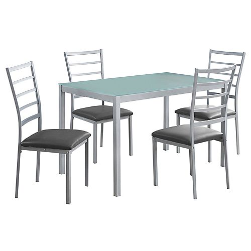 Monarch Specialties Dining Set - 5-Pieces Set Silver Frosted Tempered Glass