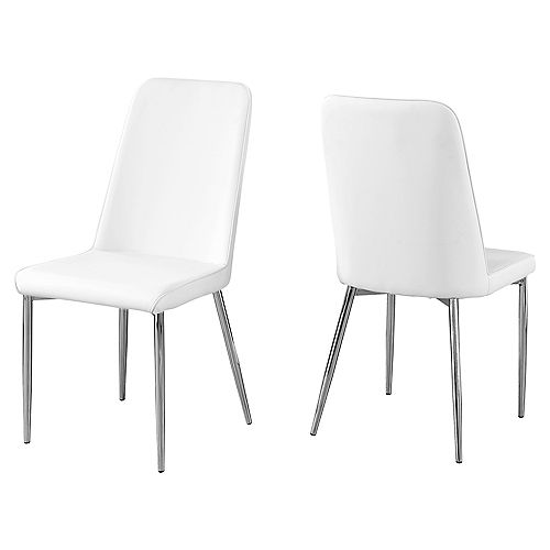 Monarch Specialties Dining Chair - 37-inch H White Leather-Look Chrome (Set of 2)