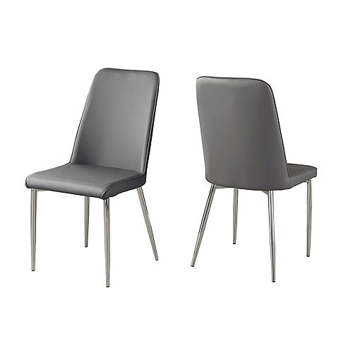 Dining Chair - 37-inch H Grey Leather-Look Chrome (Set of 2)