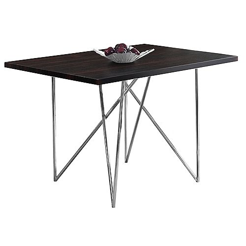 Monarch Specialties Dining Table - 32-inch X 48-inch Cappuccino Chrome Metal