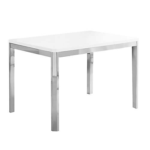 Dining Table - 32-inch X 48-inch White Chrome Metal