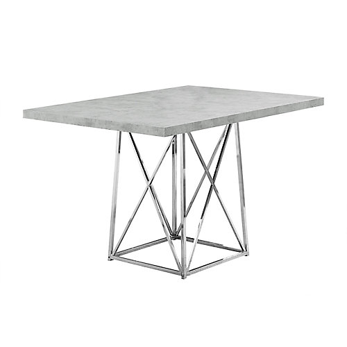 Dining Table - 36-inch X 48-inch Grey Cement Chrome Metal
