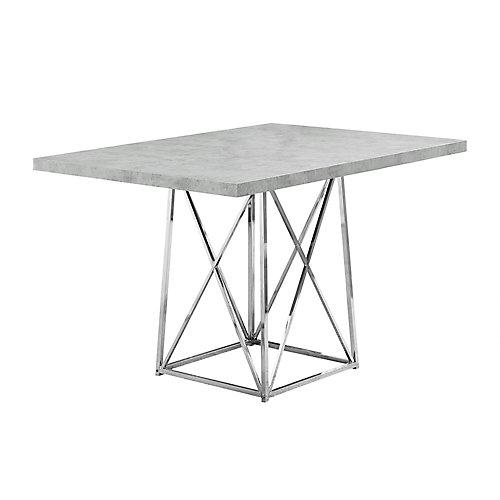 Table A Manger - 36 po X 48 po Gris Cimente Metal Chrome