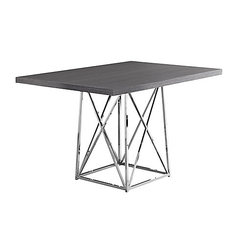Dining Table - 36-inch X 48-inch Grey Chrome Metal