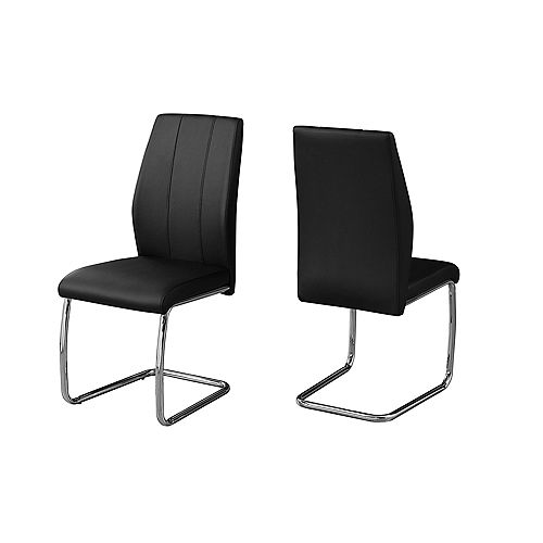 Monarch Specialties Dining Chair - 39-inch H Black Leather-Look Chrome (Set of 2)