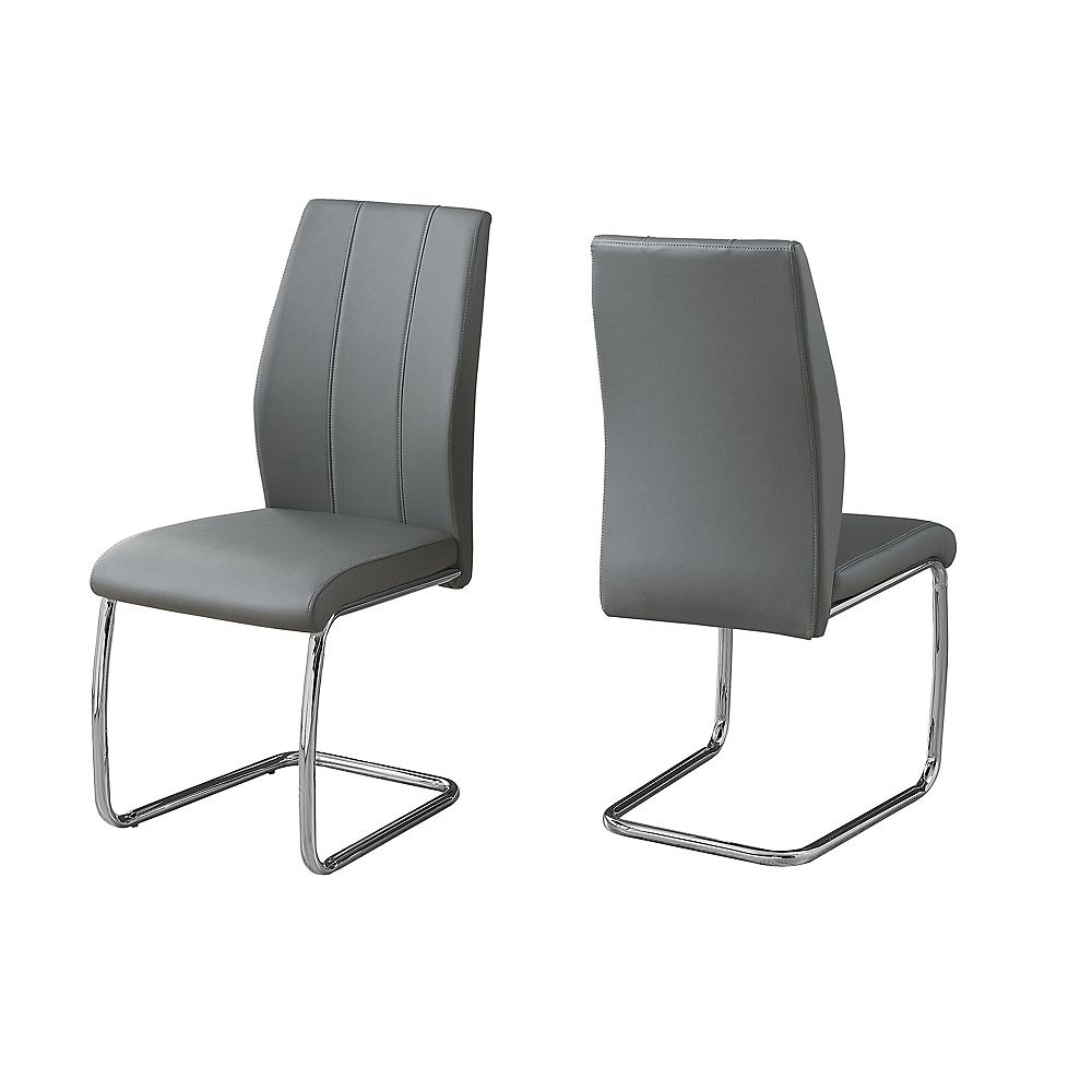 Monarch Specialties Dining Chair 39 Inch H Grey Leather Look Chrome Set Of 2 The Home Depot Canada