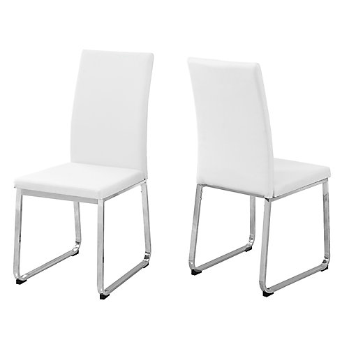 Dining Chair 38-inch H White Leather-Look Chrome (Set of 2)