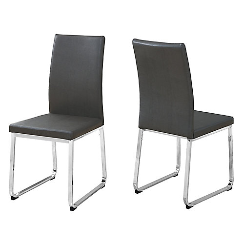 Chaise - 2Pcs 38 po H Simili-Cuir Gris Chrome