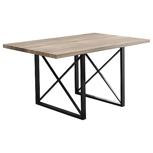 Dining Table - 36-inch X 60-inch Dark Taupe Black Metal