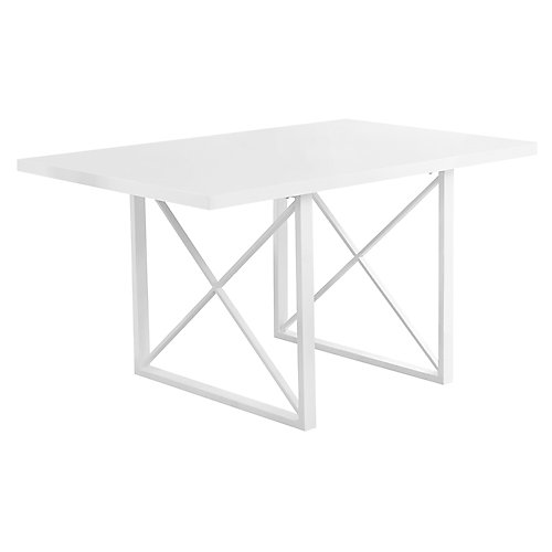 Dining Table - 36-inch X 60-inch White Glossy White Metal