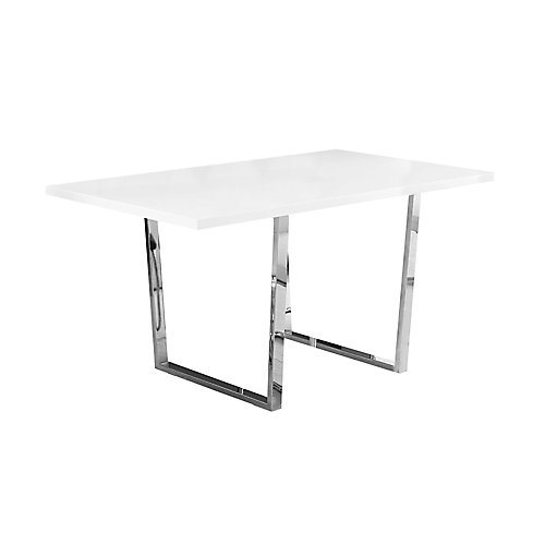 Dining Table - 36-inch X 60-inch White Glossy Chrome Metal