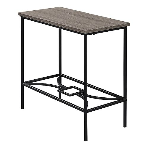 Accent Table - 22-inch H Dark Taupe Black Metal