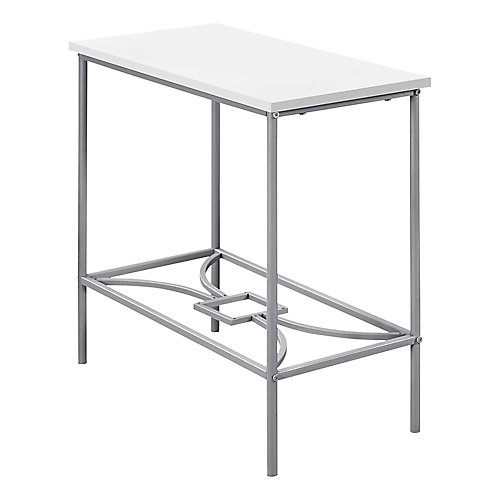 Table D'Appoint - 22 po H Blanc Metal Argent