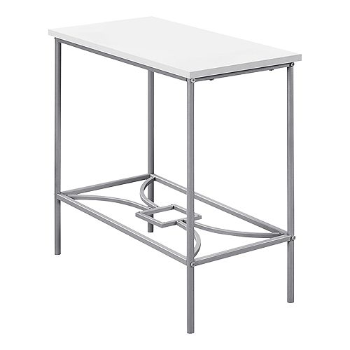 Accent Table - 22-inch H White Silver Metal