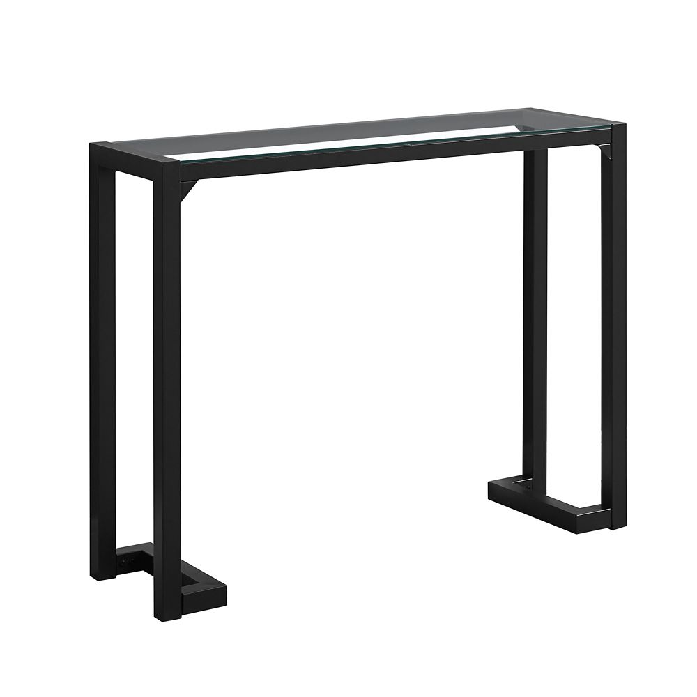 Brilliant Accent Table 42 Inch L Blacktempered Glass Hall Console Pabps2019 Chair Design Images Pabps2019Com