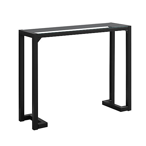 Accent Table - 42-inch L BlackTempered Glass Hall Console