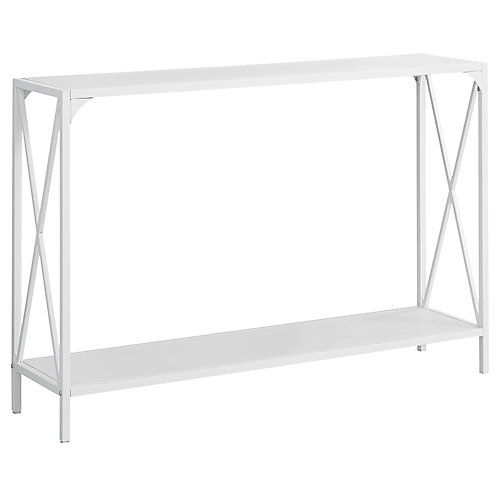 Accent Table - 48-inch L White White Metal Hall Console