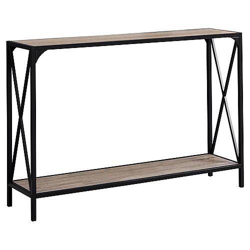 Table D'Appoint - 48 po L Taupe FonceConsole D'EntrE Noir
