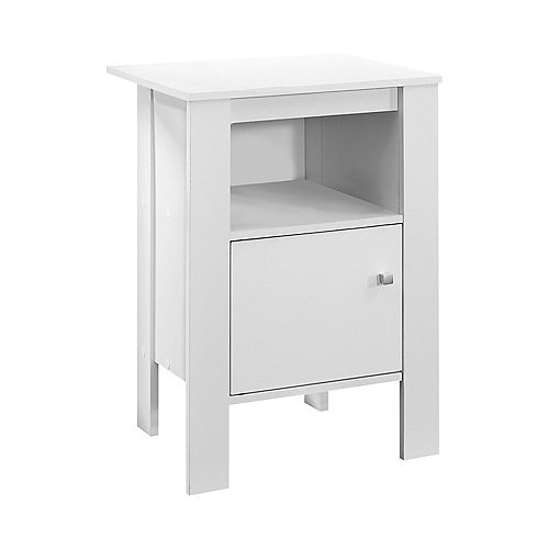 Accent Table - White Night Stand With Storage